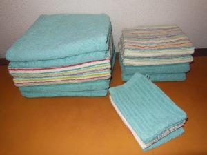Draps de bain, serviettes et gants de toilette à louer